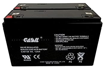 6V 12Ah Battery F2 Sealed Lead Acid - AGM - VRLA Replacement Battery by Casil CA6120 2 Pack