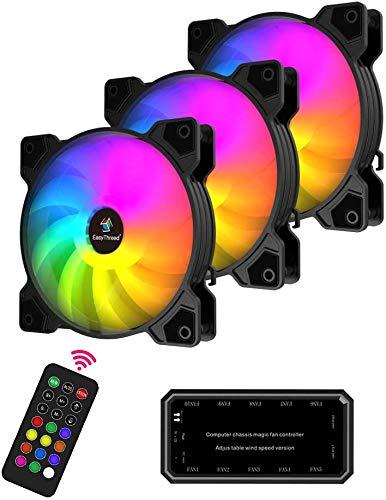 Easythreed 120 mm RGB Wireless LED Computergehäuse-Lüfter, M2 ARGB PC Lüfter mit Langer Lebensdauer und Fernbedienung, leiser und hoher Luftstrom, 3er Pack