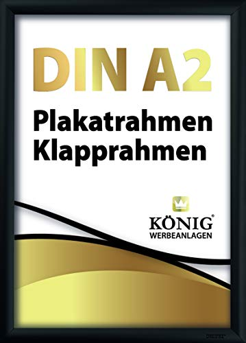 Plakatrahmen DIN A2 | 25mm Alu Profil, eckig | schwarz | inkl. entspiegelter Schutzscheibe und Befestigungsmaterial | Bilderrahmen Klapprahmen Wechselrahmen Posterrahmen Rahmen | Dreifke®