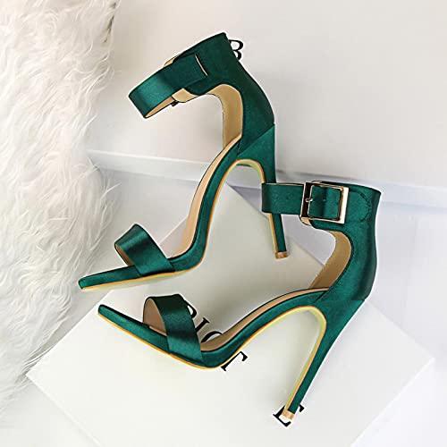 ZYONG Zapatos Bigtree, Sandalias de Mujer, Tacones Altos de satén,