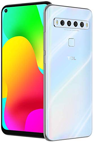 TCL 10L, Unlocked Android Smartphone with 6.53' FHD + LCD Display, 48MP Quad Rear Camera System, 64GB+6GB RAM, 4000mAh Battery - Arctic White