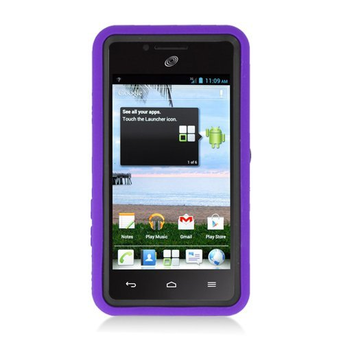 Eagle Cell Huawei Ascend Plus/Valiant/H881C Rugged Skin Case with Kickstand - Retail Packaging - Purple/Black