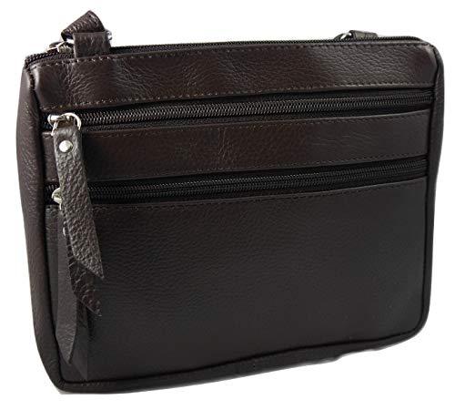 Jazzi London, piccola borsa a tracolla in vera pelle, 5 scomparti con zip, Marrone (Marrone), Small