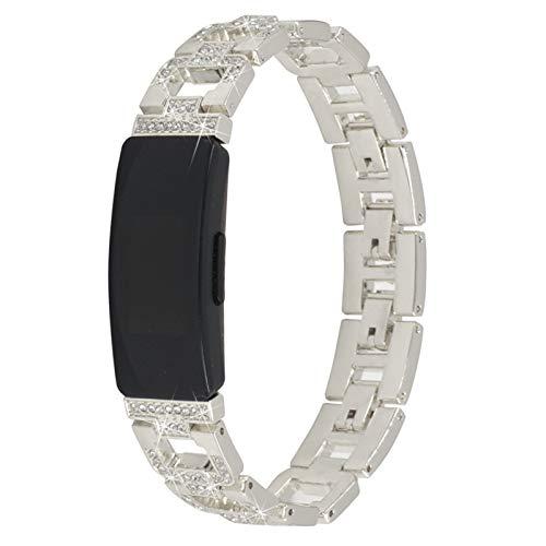 TechCode Inspire HR Jewelry Band, Ajustable de Acero Inoxidable Bling Band Reemplazo de Correa de muñeca de Metal de Cristal de Diamante para Fitbit Inspire/Inspire HR/ Ace2 (Plata)