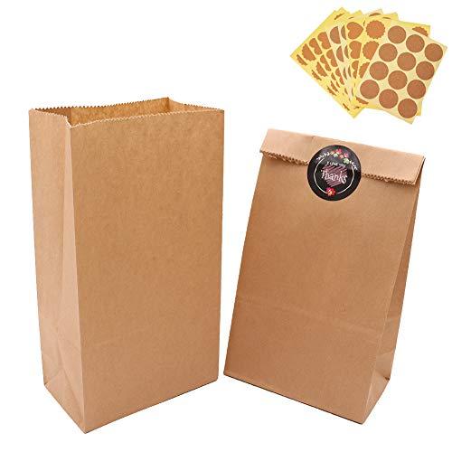 100 Piezas Calidad Bolsa de Papel Kraft 12X21X7CM - ZOORE Biodegradable Bolsas de Papel Regalo Para Navidad/Bodas/Fiestas de Cumpleaños/galletas/gominolas cualquier evento o regalos pequeños(70g/m2)