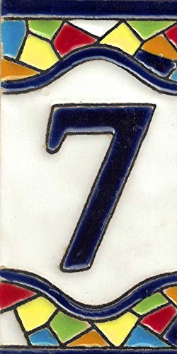 TORO DEL ORO Números casa. Numeros y Letras en azulejo. Ceramica esmaltada, Pintados a Mano técnica Cuerda Seca. Nombres y direcciones. Diseño Mosaico Mediana 5,5x10,5 cm (Número siete