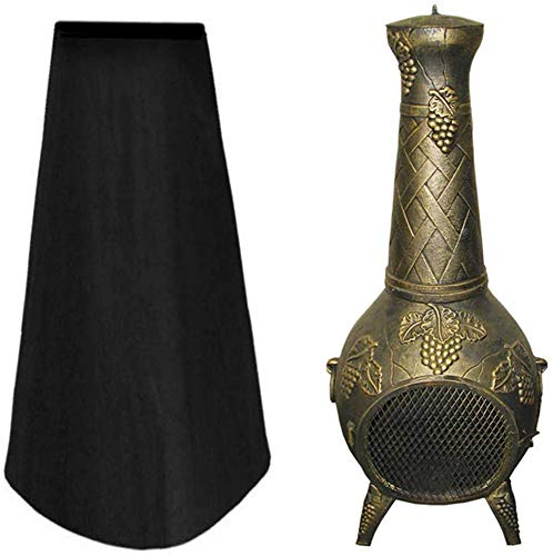 WSSW Patio Heater Covers Outdoor Chiminea Cover Heavy Duty UV Waterproof Weatherproof Breathable Garden Chimney Fire Pit Fountain Year Around Protective 122x61x21CM Black