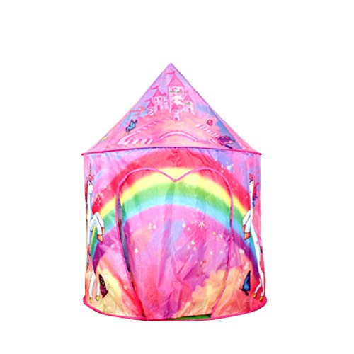 Tents dreamy Princess Teepee, Cartoon Play with Large Space, Indoor Girl's Castle Outdoor Playhouse with Cone Roof (Color : Pink, Size : 105 * 105 * 135CM)
