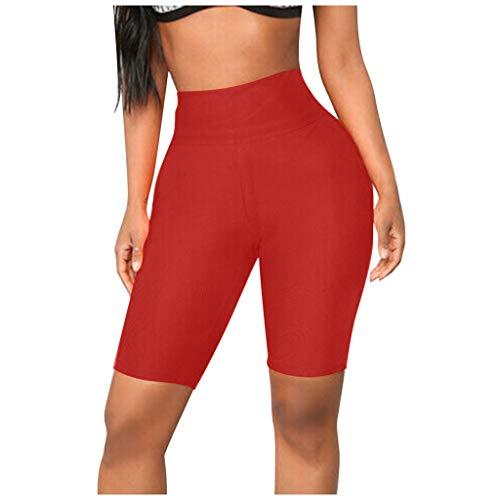 Briskorry Pantaloni sportivi da donna, corti, elasticizzati, per ciclismo, a vita alta, per lo sport e la corsa, comodi, vestibilità ottimale