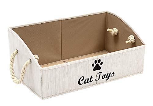 Morezi Canasta de almacenamiento de juguetes para mascotas y accesorios, organizador de cofre – perfecto para organizar juguetes de mascotas, mantas, correas y alimentos – blanco – rectángulo – gato