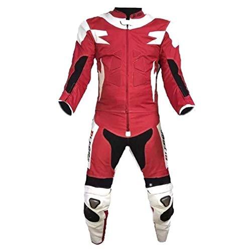 Biesse, Motorradanzug für Erwachsene, aus Leder und Stoff, 2-teilig, Jacke und Hose, verstellbar, Farben: Schwarz/Rot, Schwarz/Blau, Weiß/Rot, Größen: XS - 4XL, komplett mit CE-Schutz 4XL Weiß / Rot