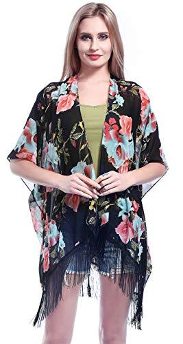 FAIRYGATE Damen Chiffon Cardigan Strand Bikini Badeanzug Cover Up Transparente Bluse Tunika Strandponcho 29229