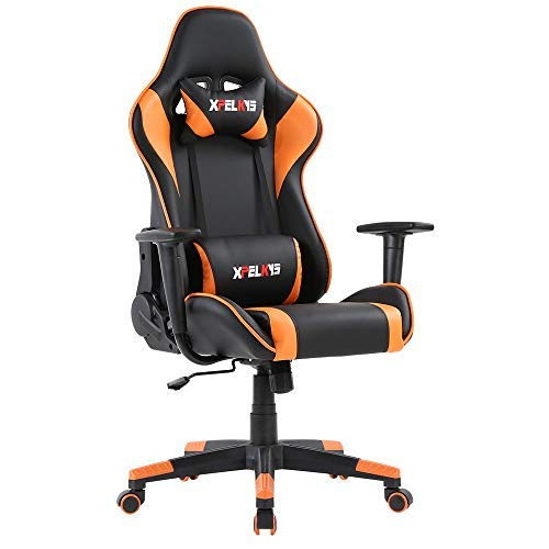 XPELKYS Office Chair Gaming Chair Computer Game Chair Video Game Chair Racing Style High Back PU Leather Chair Executive and Ergonomic Style Swivel Chair with Headrest and Lumbar Support chairs Computer Dining Features gaming Kitchen