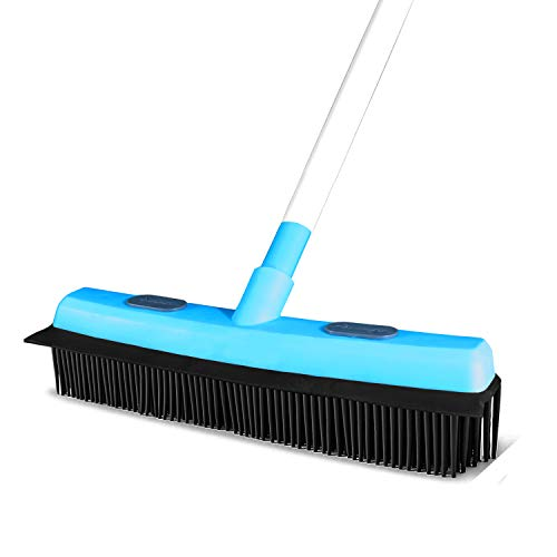 Guay Clean Rubber Push Broom Pet Hair Fur Removal Soft Bristle Sweeper for Carpet and Floor, Squeegee and Grommet for Pads and Towels -Telescopic Pole up to 50 Inches - Blue