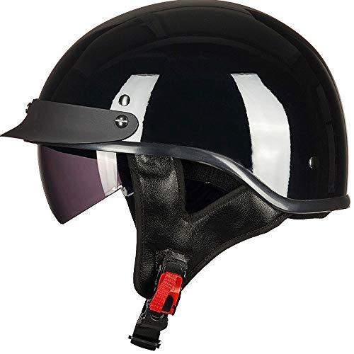 ILM Half Helmet Motorcycle Open Face Sun Visor Quick Release Buckle DOT Approved Cycling Motocross Suits Men Women (S, Gloss Black)