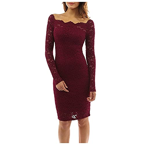 Midi Dress for Women 2021 New Solid Lace Bodycon Dresses Off Shoulder Cocktail Party Elegant Prom Dress Prom Gown Shirts Red