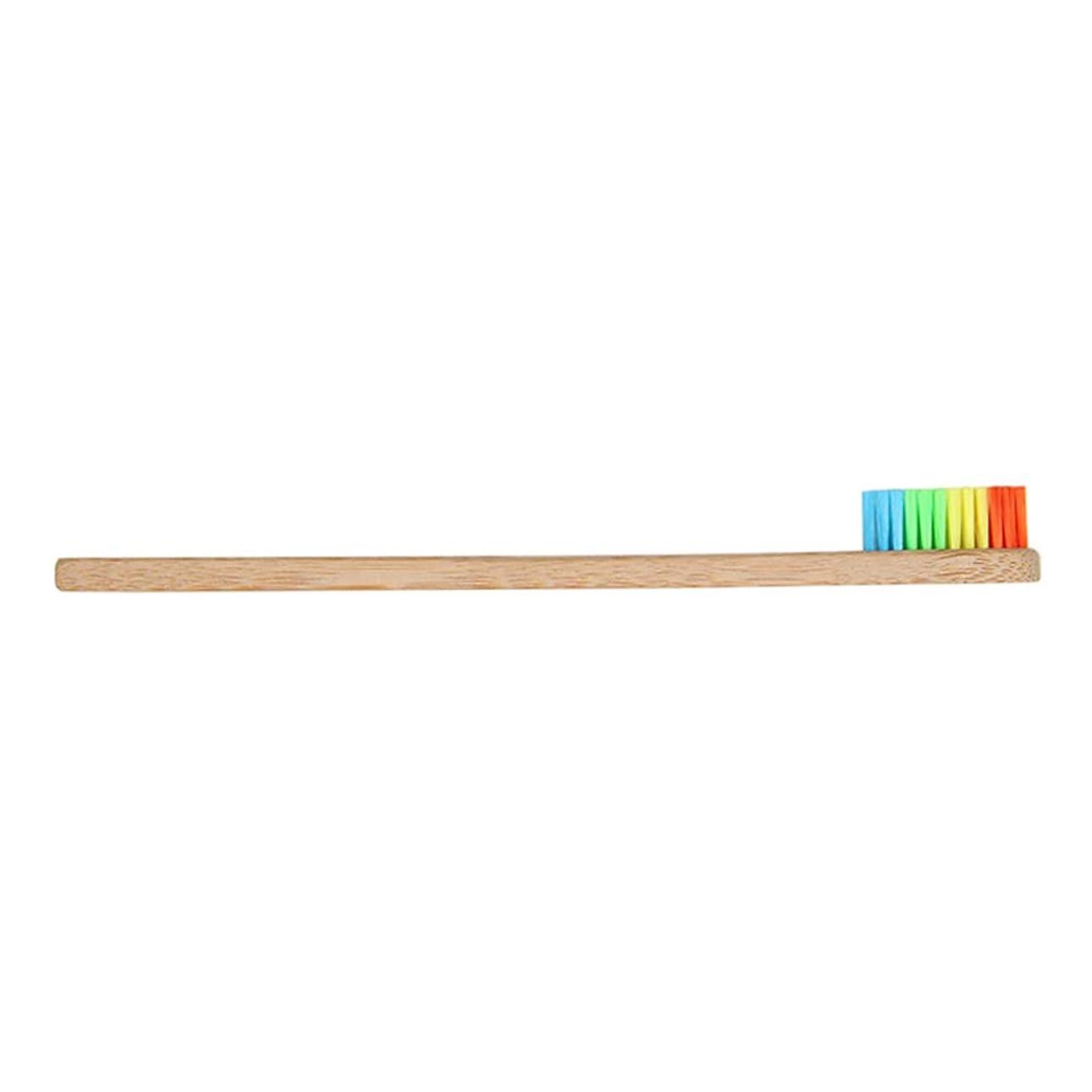 膨らませる筋肉の主にCoolTack 1/4個歯ブラシ竹木製ハンドル虹ソフト剛毛オーラルケア歯ブラシ用大人子供