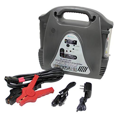メルテック ポータブルバッテリー 5WAYシステム電源 AC100V1口120W DC12V1口12A USB1口2.1A LEDライト セルブースト機能付 ブーストケーブル・DC準電コード・ACアダプター付 Meltec SG-3500LED