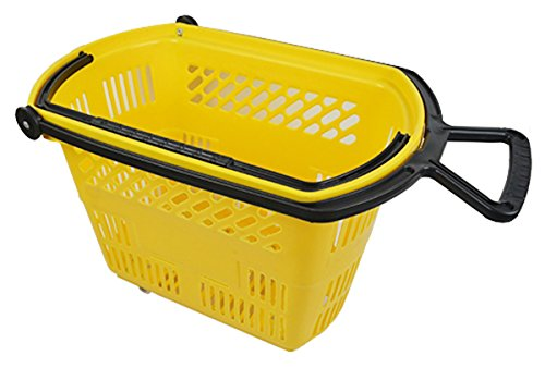 Plastic Rolling Grocery Shopping Basket w/Pull Handle Retail Store Display Yellow Lot of 6 New