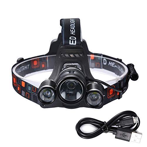 Louvra LED Kopflampe Power Eingebaute Lithium-Batterie USB 3000Lm Leuchtende Taschenlampe XML-T6 LED-Lampen Wasserdicht aus Aluminium für Wandern Camping Biking Fischerei Jagd usw.