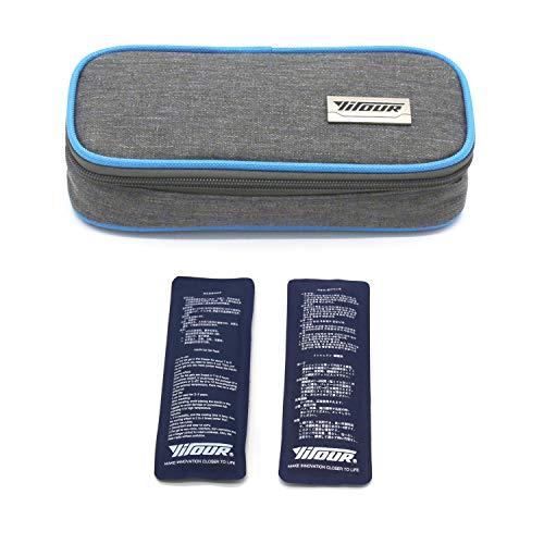 Borsa da viaggio per insulina, Borsa termica per insulina Custodia protettiva per assistenza medica Organizzatore diabetico Borsa termica portatile da viaggio + 2 impacchi di ghiaccio (Blu)