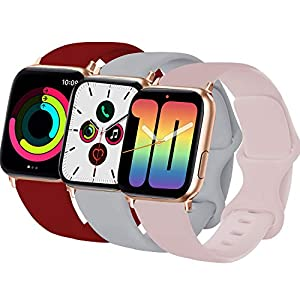 3-Pack VATI Sport Band Compatible for Watch Band 40MM 38MM M/L, Soft Silicone Sport Bands Replacement Strap Compatible with Watch Series SE/6/5/4/3/2/1 All Models, Wine Red/Pink Sand/Fog