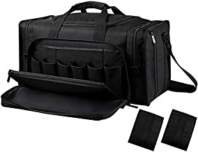 SoarOwl Tactical Gun Range Bag Shooting Duffle Bags for Handguns Pistols with Lockable Zipper and Heavy Duty Antiskid Feet (Black)