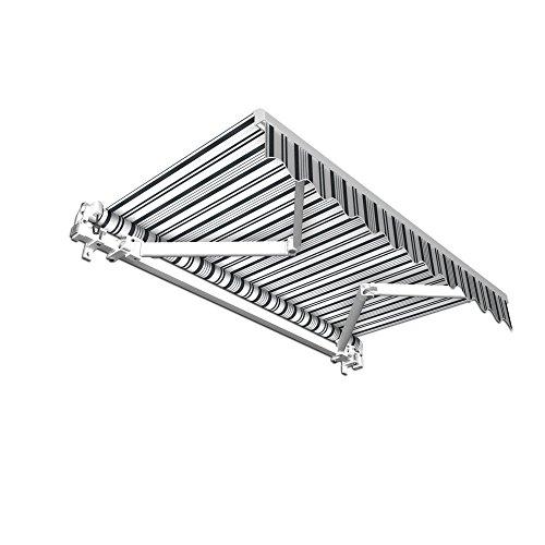 jarolift Gelenkarmmarkise Basic Balkonmarkise Sichtschutz für Terrasse, 350 x 300 cm (Breite x Ausfall), Grau-Weiss Multistreifen