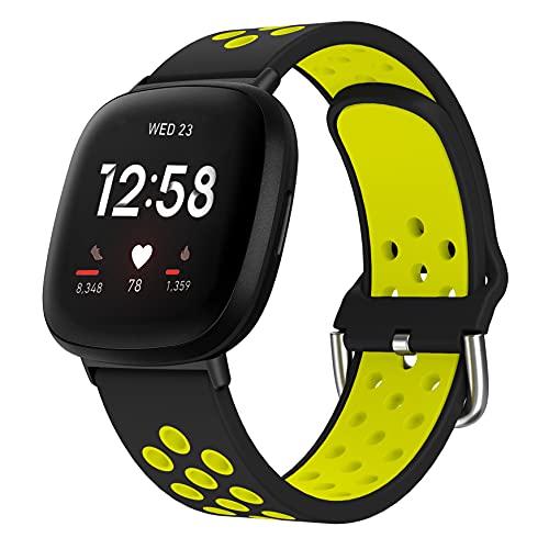 YSSNH Compatible con Fitbit Versa 3 Correa Sports Reemplazo Pulsera de Silicona Dos Tonos Transpirable para Mujeres Hombres Compatible con Fitbit Sense/Versa 3