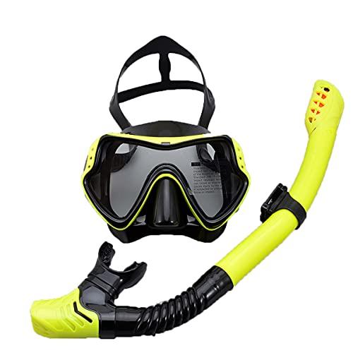 LLC Kit Profesional de Snorkeling, Kit de Snorkel seco, Equipo de Snorkel para Adultos con Vista panorámica y Vista Grande, Adecuado para Adultos y Adolescentes,Amarillo