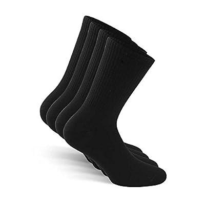 SNOCKS Women & Men Crew Socks (4 Pairs) Size 3 - 14 (Black, White, Grey) - Cotton