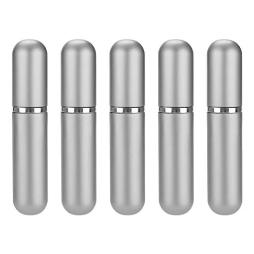 Artibetter 5 Unidades de 5Ml Portátil Mini Perfume Botella de Spray Vacía Recargable Pequeño Dispensador de Bomba de Perfume para Bolso de Viaje (Plata)