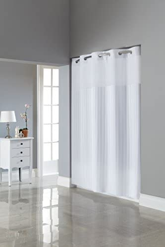 Hookless Fabric 3 in 1 Shower Curtain Set with PEVA Snap In Liner and Window 71x74 In White product image