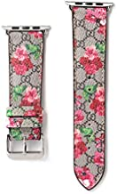 42/44MM Compatible Apple Watch Straps, Luxury Fashion Monogram PU Leather Classic Wrist Bands for Women and Men, Replacement for Apple Watch Series 4 3 2 1 42mm (fit for 44mm) (Blooms)