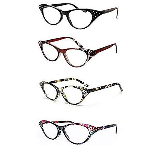KoKoBin 4 stuck Cat Eye Lesebrille für Damen Strass Inlay mit Spring Hinge Fashion Chic Readers Brille +1.5