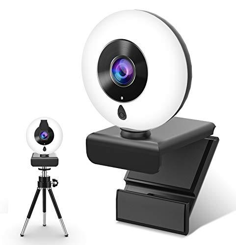 Webcam con Micrófono y Anillo de Luz, NIYPS 2K HD Camara Web con Cover y Tripode para PC/Mac/Ordenador Portatil/Sobremesa, Web CAM para Youtube, Skype, Zoom, Xbox One, PS4 y Videoconferencia