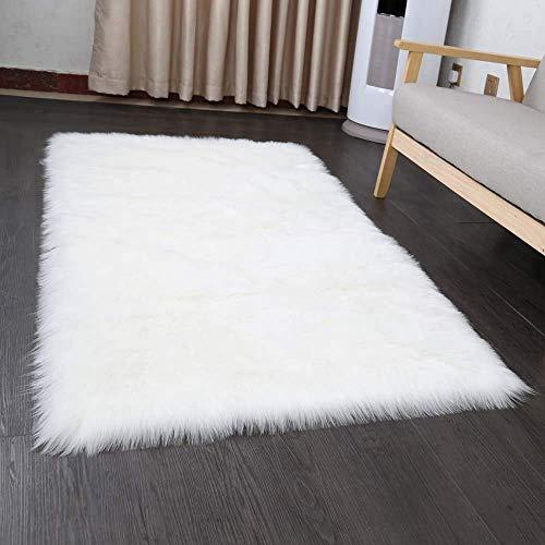 INKARO Alfombra de piel de cordero de oveja de imitación de lana, apta para alfombra de salón, de pelo largo, suave, para cama, sofá, color blanco, 75 x 120 cm