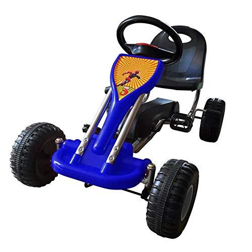 SOULONG Kinder Peda-Gokart, Kinderfahrzeug Tretfahrzeug, Schaltbares Schwungrad, 3–5 Jahre, Blau 89 x 52 x 51 cm