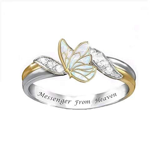 Schmetterlings Ring Damen Ringe Gold Offene Fingerringe Charms Verstellbare Ringe Eheringe Trauringe Memoire Ringe Ringe FüR Frauen Retro Kristall Zirkon