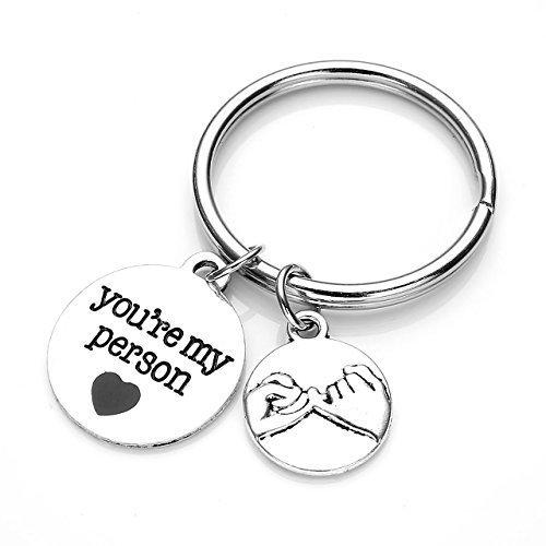 JOVIVI You are My Person Pinky Promise Charm Pendant Keychain Jewelry Set - Valentines Day Best Friend Gift