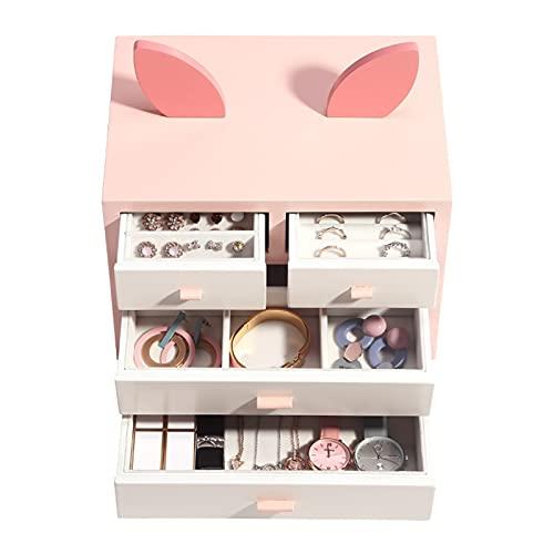 KJGHJ Caja de Joyería Dibujos Animados De Lujo Grande De Madera Caja De Joyería Organizador Pendiente Collar Anillo (Color : Pink)