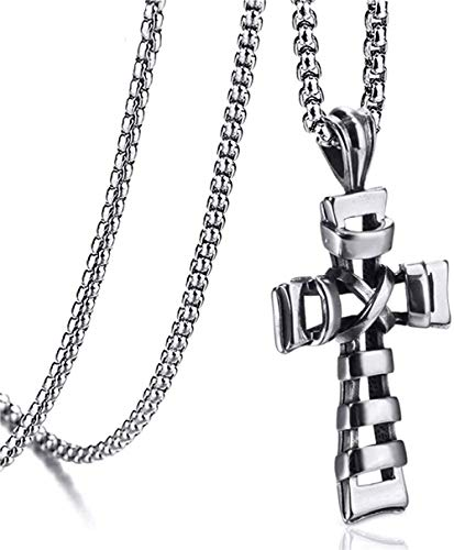 Zaaqio Collar Chai Plata Acero Inoxidable Cruz Religio Colgante Hombre 60Cm