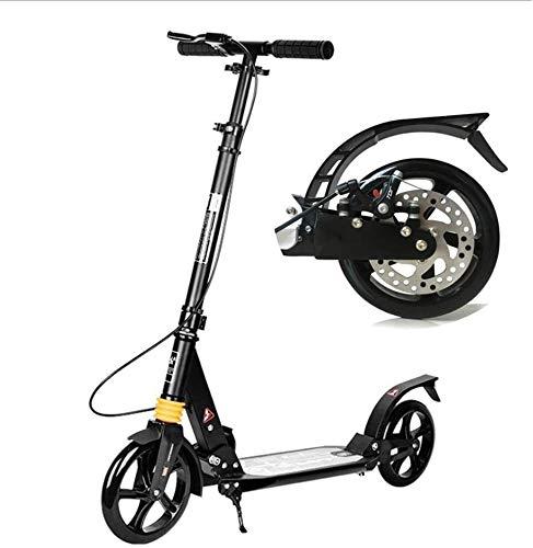 WJJ Patinetes para Niños Unisex Adult Kick Scooter 200mm Big Wheels, Scooters Plegables con Frenos De Disco, Soporte 150kg, No Eléctrico (Color : Black)