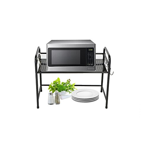 Mind Reader Microwave Oven Rack Shelf Unit with 6 Hooks for Kitchen Utensils, Towels, Mits, and More