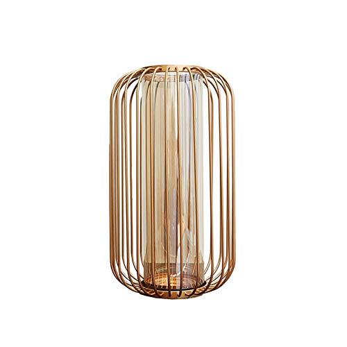 Decorativos Modernos Jarrones Jarrón de cristal transparente Linterna de oro Marco de hierro Inicio Mesa de comedor Oficina Oficina Decoración de escritorio Decoración Regalo Regalo Florero Contenedor