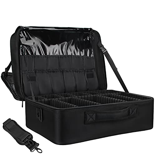Extra-large Makeup Case, a Must for Double-layer Travel, a Storage Case for Professional Makeup Artists to Put Cosmetics, with Adjustable Partitions and Support