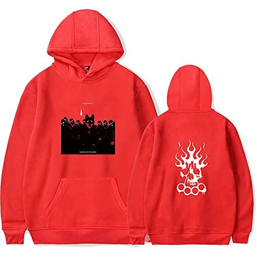 Rapper Kontra K Merch New Print Hoodies Kawaii Sweatshirt Damen/Herren Mode Hoodies, rot, XS
