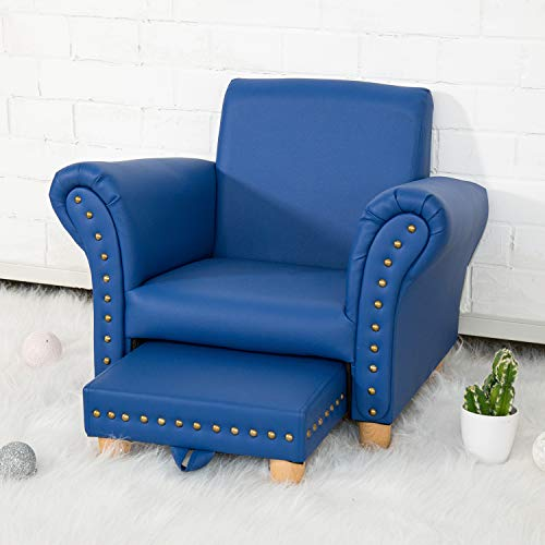 Kids Leather Sofa Chair Toddler Lounge Sofa Kids Upholstered Chair with Footstool for Nursery School...