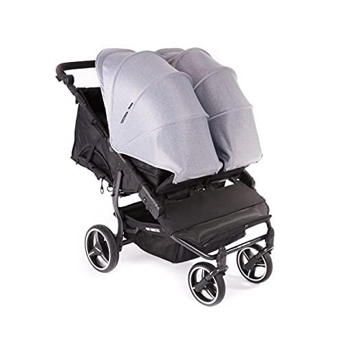 Baby Monsters Easy Twin 3S Light Carrito gemelar + Capota (Headther Grey) - Silla de paseo gemelar ultraligera de fácil plegado