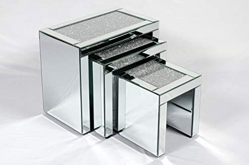 Mirrored Crushed Diamond Nest of 3 Tables